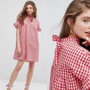 ASOS Willow & Paige smock Dress New Gingham Sz med